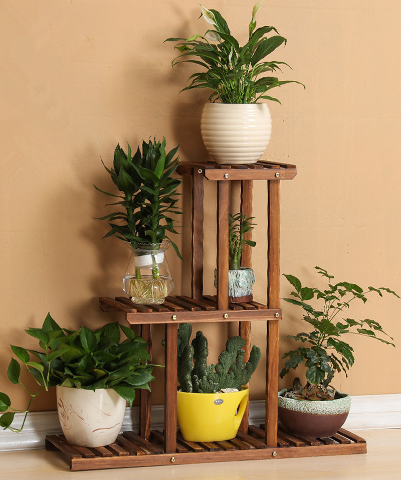 3-Tier Versatile Indoor Plant Shelf, Decorative Wood Plant Stand Plant Holder