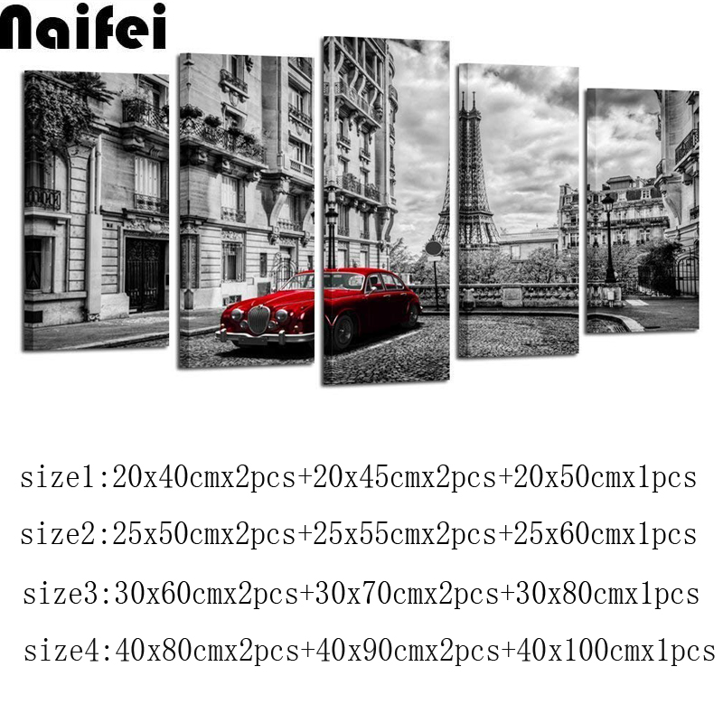 5pcs Black and White with paris Tower Red Car DIY full 5d Diamond Painting Embroidery Cross Stitch Rhinestone Mosaic Home Deor
