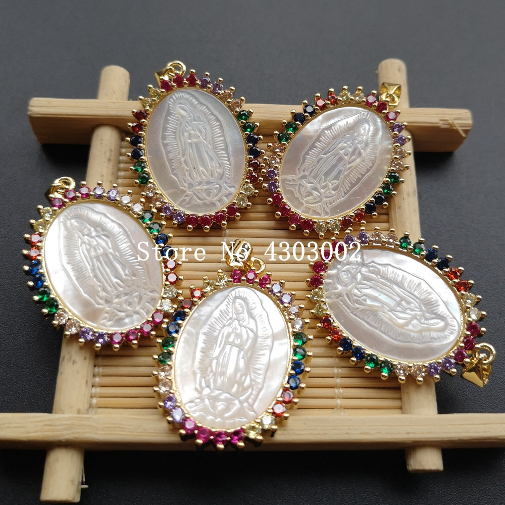 Image 3 - 10pcs/lot Micro Pave AAA CZ Natural Virgin of Guadalupe Mother of  Pearl Shell Pendant Guadalupe Pearl Shell MOP Charms for giftPendant  Necklaces