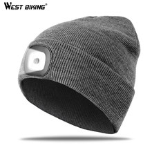 WEST BIKING Running Caps Winter Warm Knit Hat Flashlight LED Headlamp Outdoor Sport Caps Fishing Hiking Windproof Cycling Caps(China)