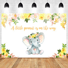 Elephant Backdrop for Photography Newborn Baby Shower Photo Background Yellow Flowers Backdrops Princess Supplies Prop Photcall