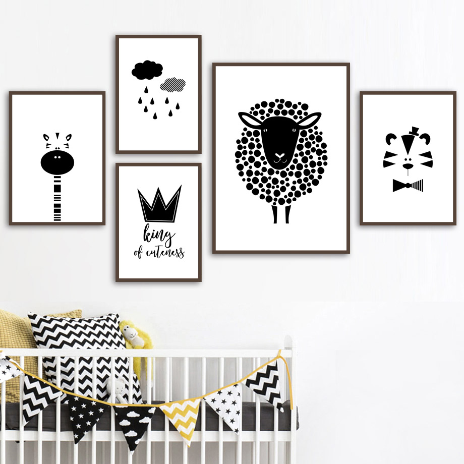 Sheep Giraffe Tiger Crown Wall Art Canvas Painting Nordic Posters And Prints Black White Wall Pictures For Baby Kids Room Decor in Painting Calligraphy from Home Garden