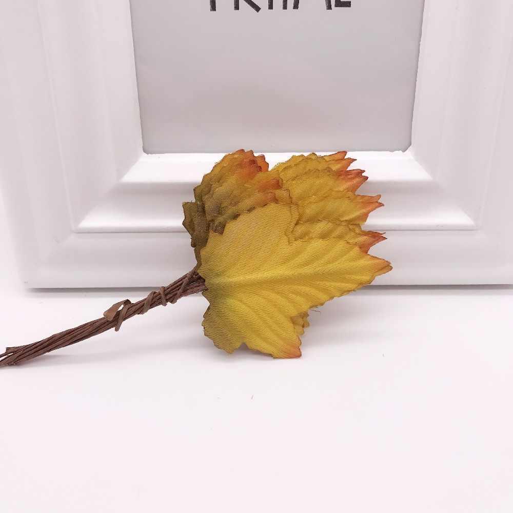 12 قطعة 4 سنتيمتر الحرير ورقة على شكل اليدوية فلورز سكرابوكينغ زهرة اصطناعية DIY بها بنفسك لوازم ديكورات زفاف للمنزل الإبرة اكسسوارات