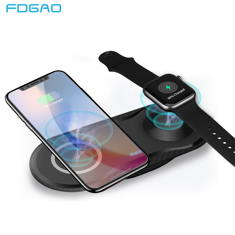 buy fdgao fast charging 10w qi wireless charger pad for apple watch 1 2 3 4 for. Black Bedroom Furniture Sets. Home Design Ideas
