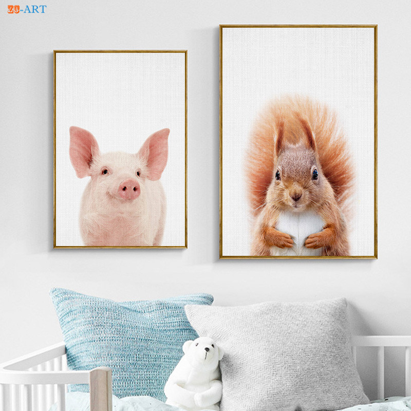 Baby Animals Framed Art Set Of 5: Framed Baby Animal Canvas Painting Squirrel Pig Prints