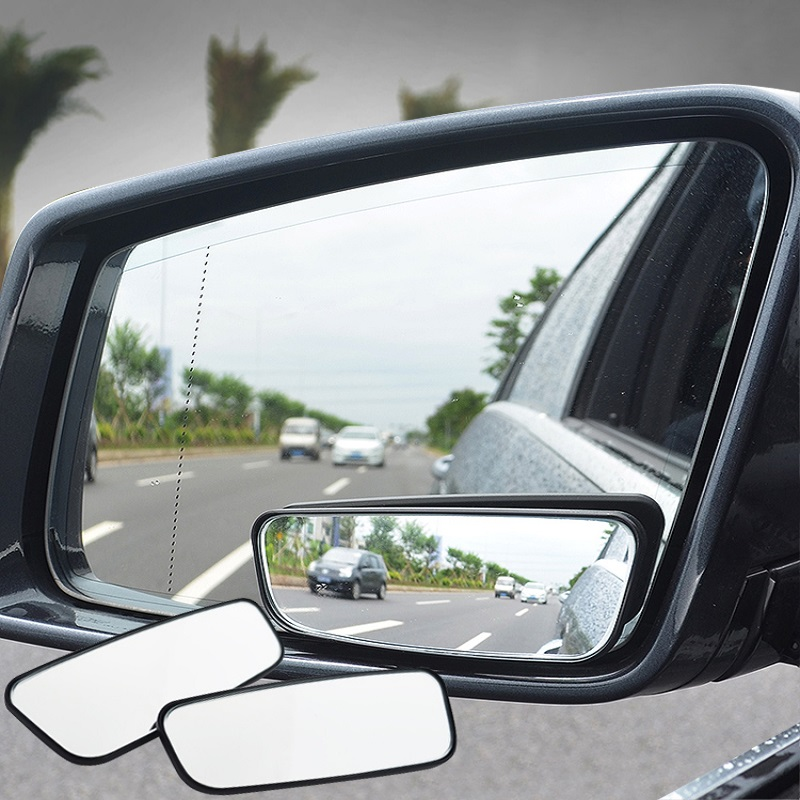 2PCS AutoCare Blind Spot Mirror Convex Adjustable Side Rear View Mirror Wide Safety Anti Glare