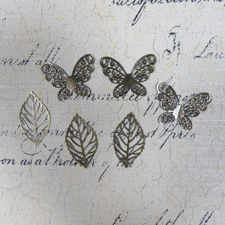 Free Shipping 100pcs Bronze Butterfly Leaf Scrapbooking Metal Crafts, Wholesale Promotion Price Vintage Home Decor Metal Craft