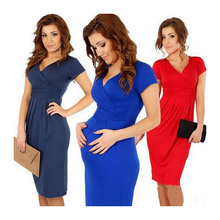 Solid maternity dresses V neck pregnancy clothes Stretchy Bodycon maternity clothes for pregnant women dress BB67