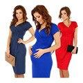 Vestidos con cuello en V ropa de embarazo de maternidad sólido Elástico Bodycon ropa de maternidad para las mujeres embarazadas vestido BB67