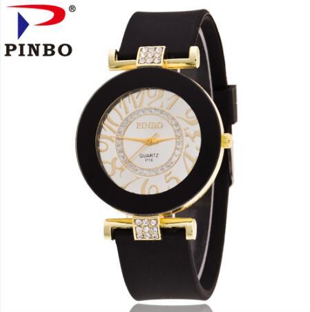 4dd4d554924e Nueva moda pinbo número grande oro cristalino de las mujeres del reloj del  cuarzo jalea del silicón relojes reloj de Relogio feminino Venta caliente