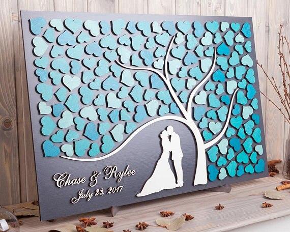 Персонализированные 3D Свадебная Гостевая книга альтернативы дерево сердец Свадебный декор уникальный Гостевая книга деревянный Древо жиз...