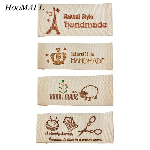 Hoomall 50 pcs lavável marcas de vestuário etiquetas etiquetas das roupas de tecido feito à mão diy acessórios de costura atacado etiqueta principal 65x20mm