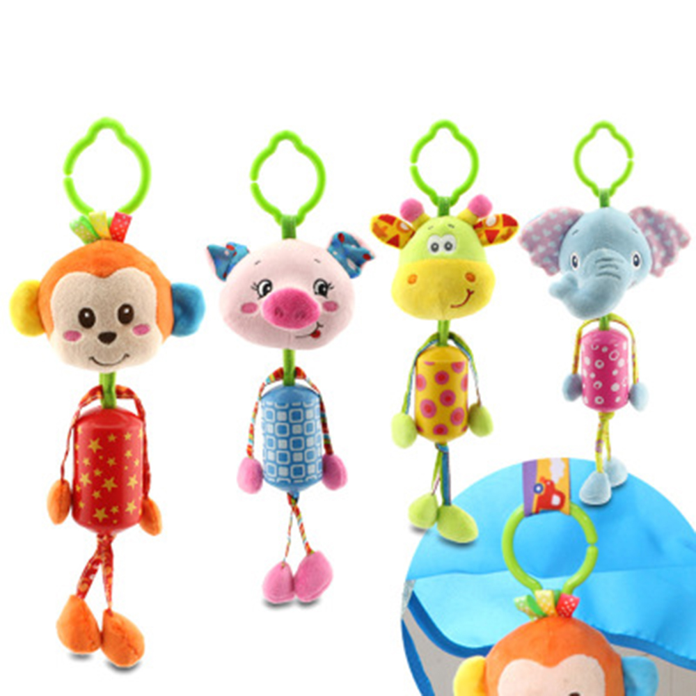 Baby bed mobile - Infant Toys Monkey Elephant Deer Pig Mobile Baby Plush Toy Bed Wind Chimes Rattles Bell Toy Stroller For Newborn Brinquedo Gift