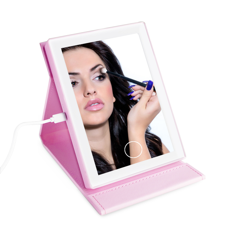 Portable foldable LED light makeup mirror desk table mirrors pocket mirror Dimmable Touch Screen PU Leather USB charge