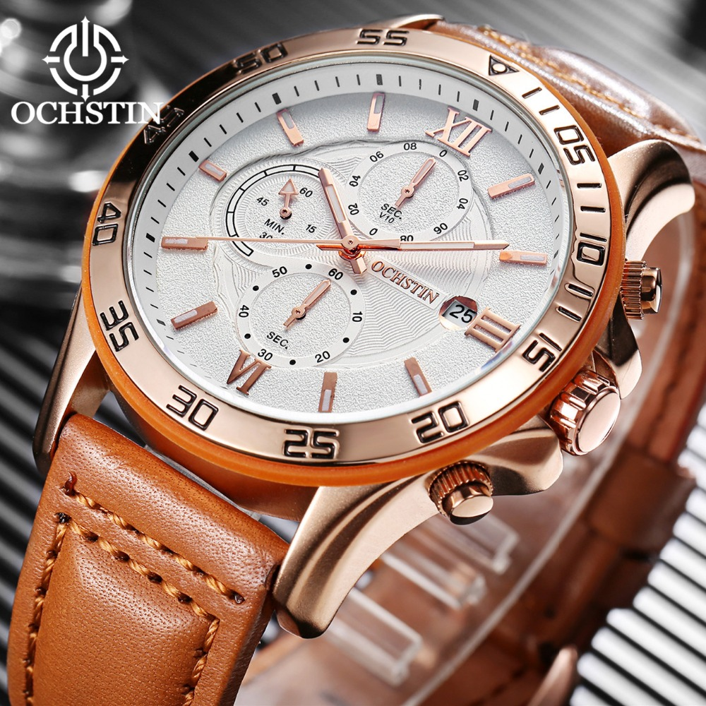 2017 Luxury Brand OCHSTIN Men Sports Watches Men's Quartz Date Clock Man Leather Army Military Wrist Watch Relogio Masculino luxury brand men s quartz date week display casual watch men army military sports watches male leather clock relogio masculino