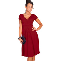 Bodycon Women Dresses V Neck Short Sleeve Knee Length Casual Summer New Fashion Party Cocktail Dresses