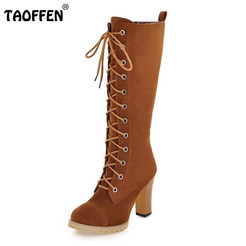 TAOFFEN Women Shoes Women Boots Knee High Boots Lace Up High Heeled Squared Heels Autumn Winter
