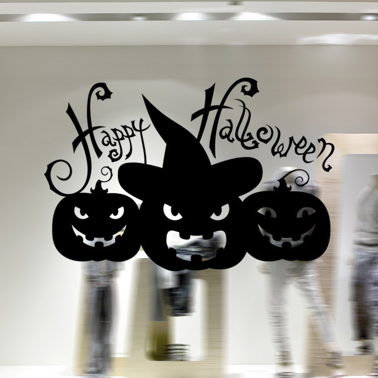Happy Halloween Pumpkins Black White Wall Sticker Window Home