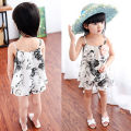 Encaje de flores las niñas dress toddler kids summer floral camisa chaleco + shorts 2 unids trajes set 2-7y