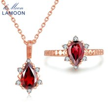 LAMOON Fine Jewelry Set Natural Red Garnet 925 Sterling Silver Water Drop Necklace Earring Rose For Women Jewelry Sets
