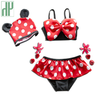 Girls Swimwear 2016 Baby Toddler Dot Girls Swimwear Bikini Kids Swimsuit Skirt Hat Cute Child 3