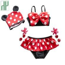 1-8Y Bébé filles maillots de bain deux pièces bébé D'été de natation de bain de Bébé costume Dot filles maillots de bain princesse Bikini infantile maillots de bain