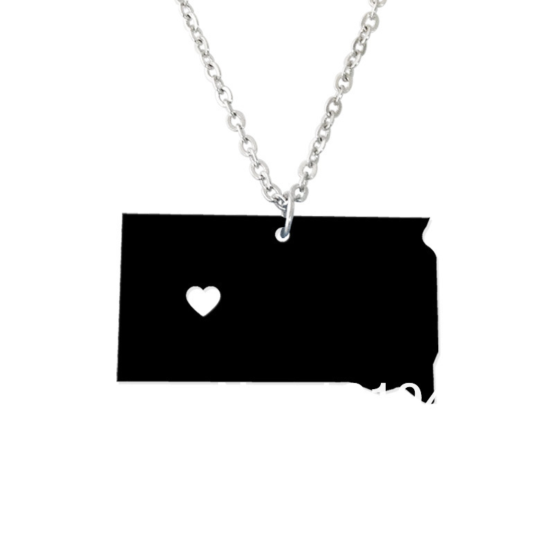 I heart South Dakota Necklace - Acrylic State Charm -Personalized State Necklace - Map necklace-Custom Map Pendant