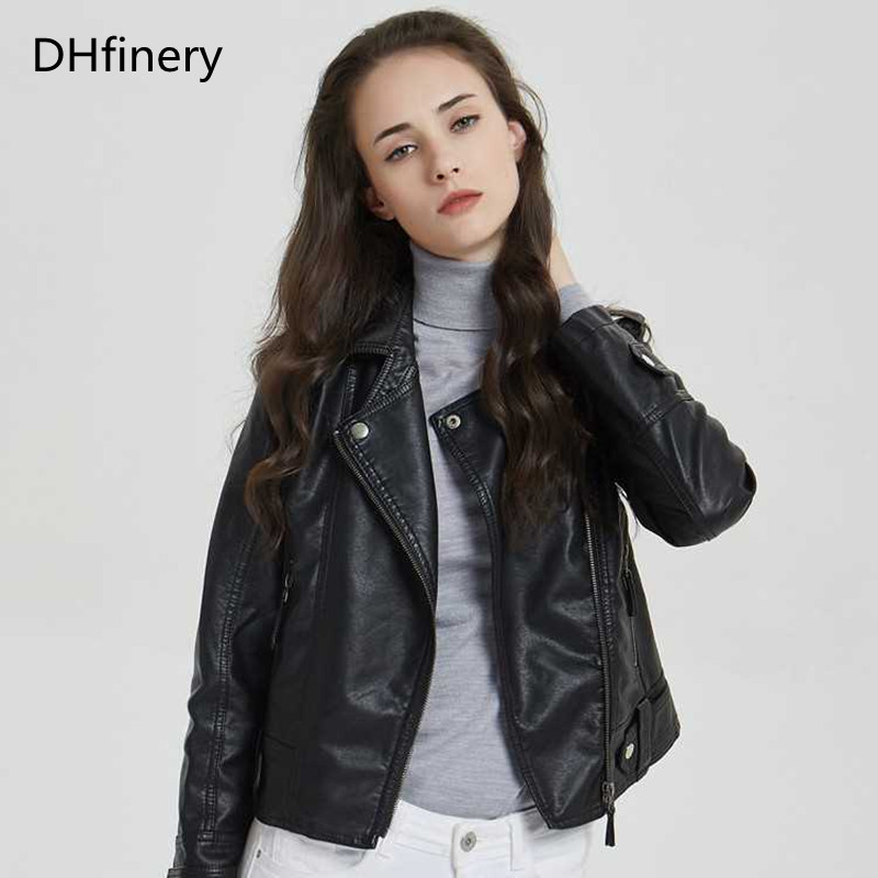 DHfinery   Leather   Jacket Women 2019 Spring Autumn Short Slim PU Lapel   Leather   Motorcycle   Leather   Jacket Y-P010