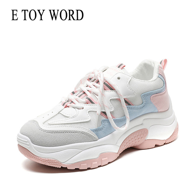 E TOY WORD 2018 Autumn Women Shoes For Woman Vulcanized Shoes breathable Korean version thick bottom shoes student casual shoes