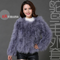 12 colors fashion sexy Ostrich wool turkey fur 2016 wool coat feather fur short jacket angelababy