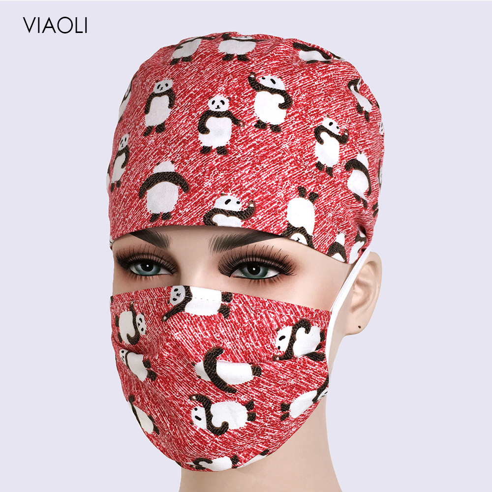 VIAOLI Unisex Medical Beauty Cap Women Men Doctor Nurses Printing Scrub Cap Mask Medical Surgical Surgery Hat Cotton Hat Mask