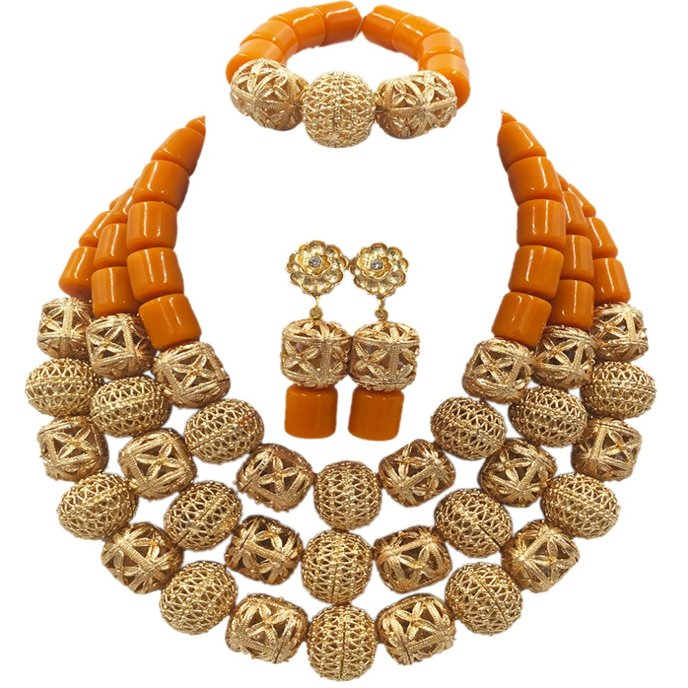 New Nigerian Traditional African Wedding Necklace Gold Artificial Coral Beads Jewelry Set for Women ACB-04 latest yellow and gold beaded artificial coral nigerian wedding african beads jewelry set acb 11