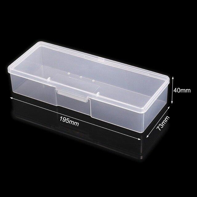 Monja Nail Art Rectangle Translucent Plastic Storage Box Nail Dotting Drawing Brush Pen Polishing Sponge Buffer Container Case 1