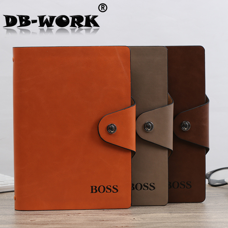 A5 business notepad magnetic clasp high-grade loose-leaf notebook leather custom office stationery saturday a5 business notebook notepad office book color leather cover wholesale custom 1 pcs random color
