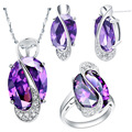 Jewelry sets for women fashion silver 925 Amethyst jewelry  gold plated necklaces rings stud earrings Bridal Jewelry Sets