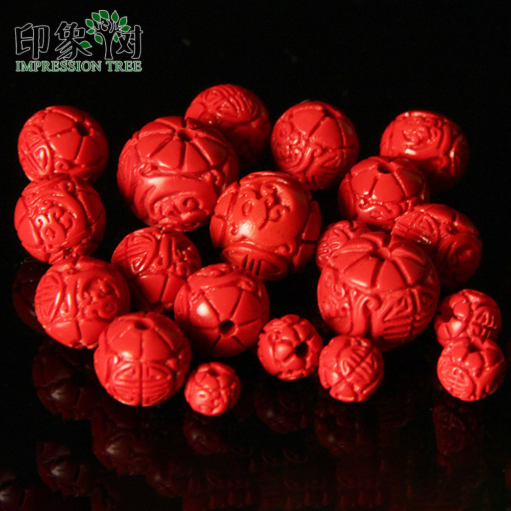 50/10pcs/Lot 6/8/11/14mm Handmade Carving Cinnabar Red Beads For DIY Bracelet Necklace Jewelry Making 615