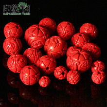 50/10pcs/Lot 6/8/11/14mm Handmade Carving Cinnabar Red Beads For DIY Bracelet Necklace Jewelry Making 615(China)