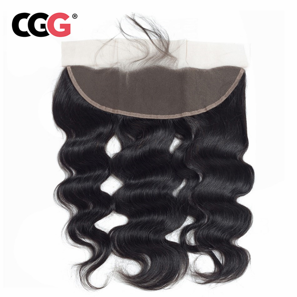 CGG 13X4 Lace Frontal Body Wave Human Hair Peruvian Non Remy Human Hair Weaves Natural Color