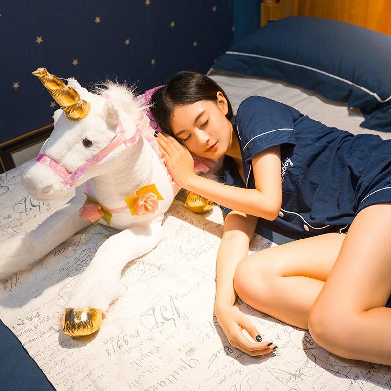 Jouets en Peluche licorne blanche Jumbo 85 cm licorne géante Peluche Animal cheval jouet doux Unicornio Peluche poupée cadeau enfants accessoires Photo - 2
