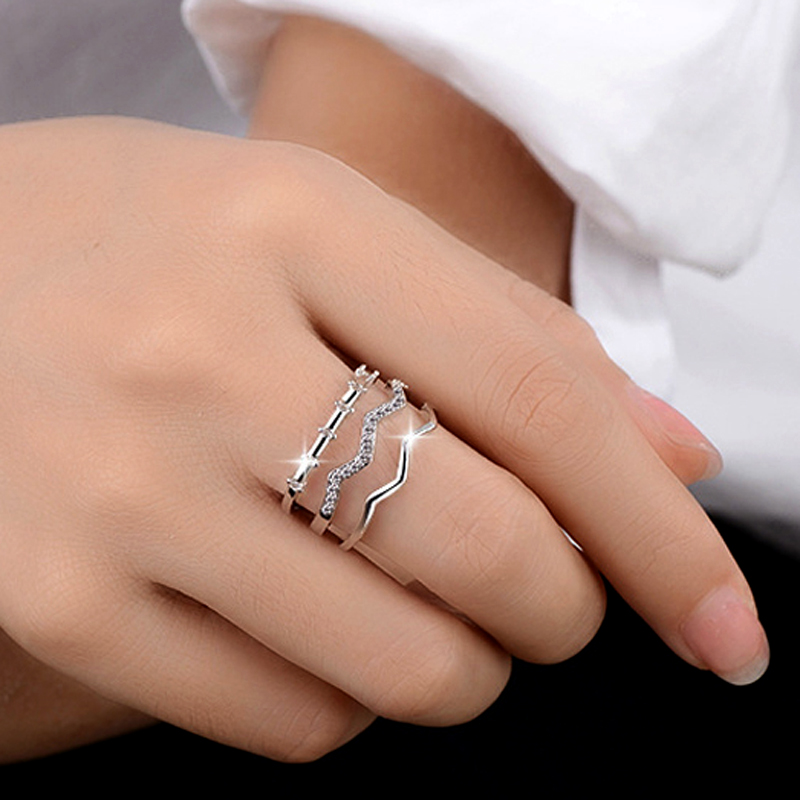 New Fashion Silver Plate Twist Weave Open Wide Adjustable Ring Three Layers Ring CZ Ring For Women'S Gift Bague Anillos
