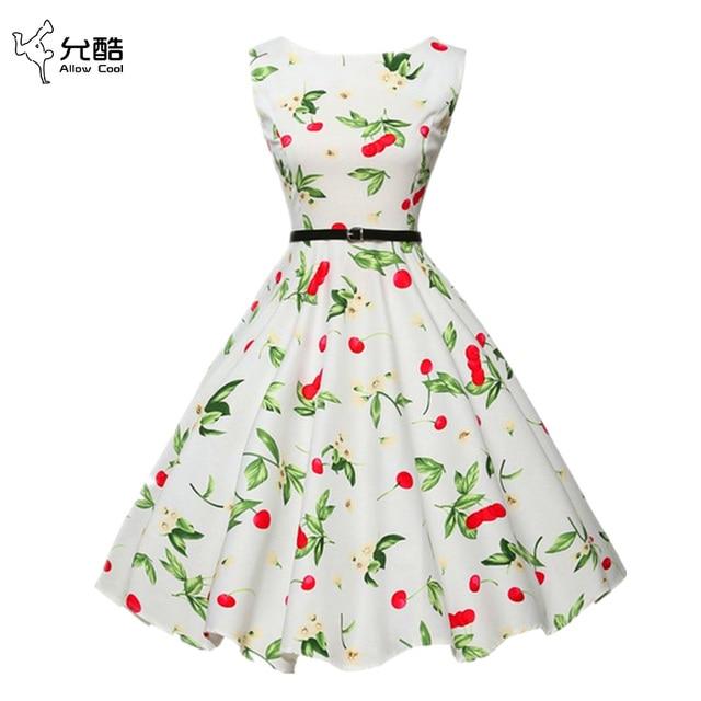 Женщины Лето Dress 2017 плюс размер одежды Одри хепберн Цветочные халат Ретро Качели Случайные 50 s Vintage Рокабилли Платья Vestidos