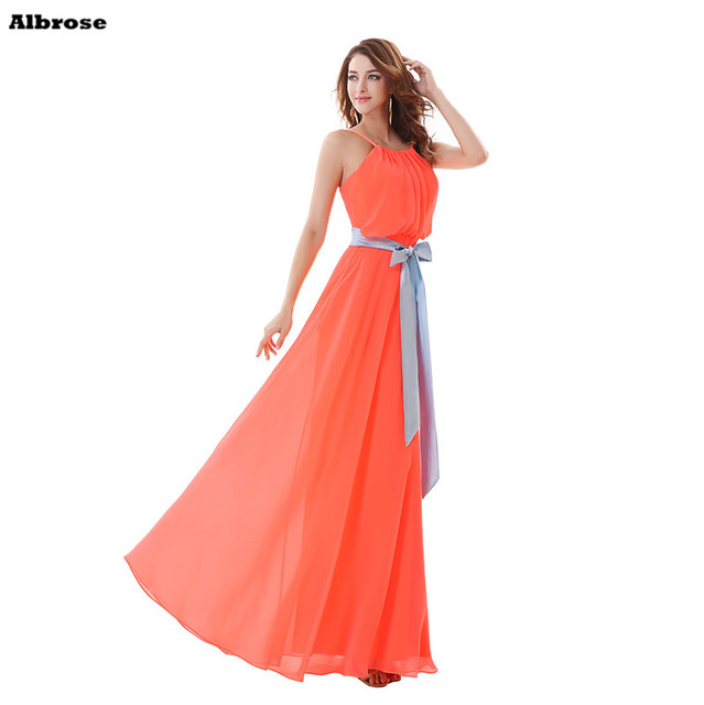 9503df96a5 Watermelon Red Beach Bridesmaid Dresses Cheap Simple Chiffon Bridesmaid  Dress Long Spaghetti Strap Sashes Formal Party Gown
