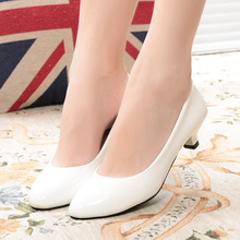 2016 New Heels 4CM Pointed Toe Women Pumps Fashion ladies sexy Pumps For Party/Wedding/Work White/Black/Red nurse Pumps shoes105