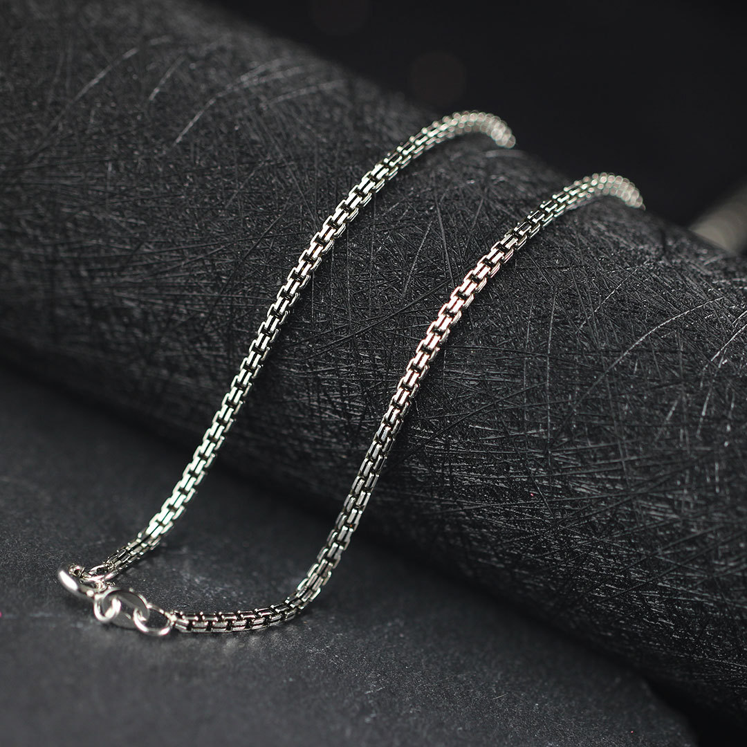Real silver items S925 pure silver ornaments Thai silver Fashion ms 2.0 mm hollow double box chain necklace character silver items s925 pure silver ornaments new mark antique watch thai manual exaggerated female model