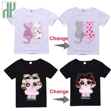 Kids tshirt Sequins Cartoon Cat unicorn t shirt boys summer 2019 Teen Clothes toddler Girls Teenage Children Shirts 6 8 10 Year