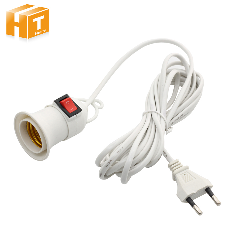 E27 Lamp Bases With 4M 8M Power Cord Independent Push Button Switch EU Plug E27 Screw Interface Lamp Holder