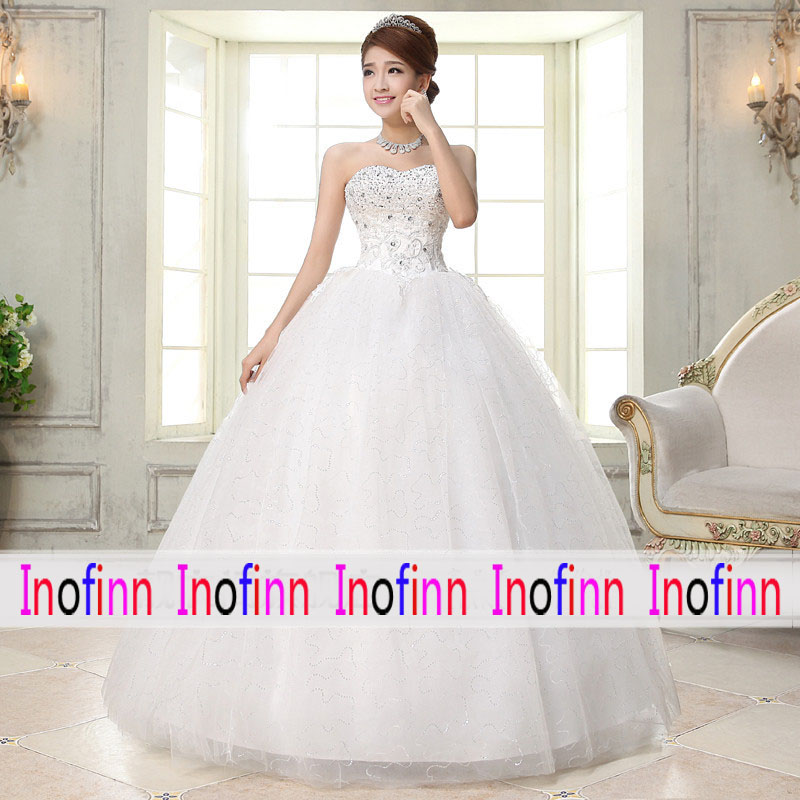 Inofinn H35 Hot Sale Lace Dress Wedding Long 2019 Lace Off-Shoulder Sweetheart Sleeveless Lace Up Cheap Wedding Dress