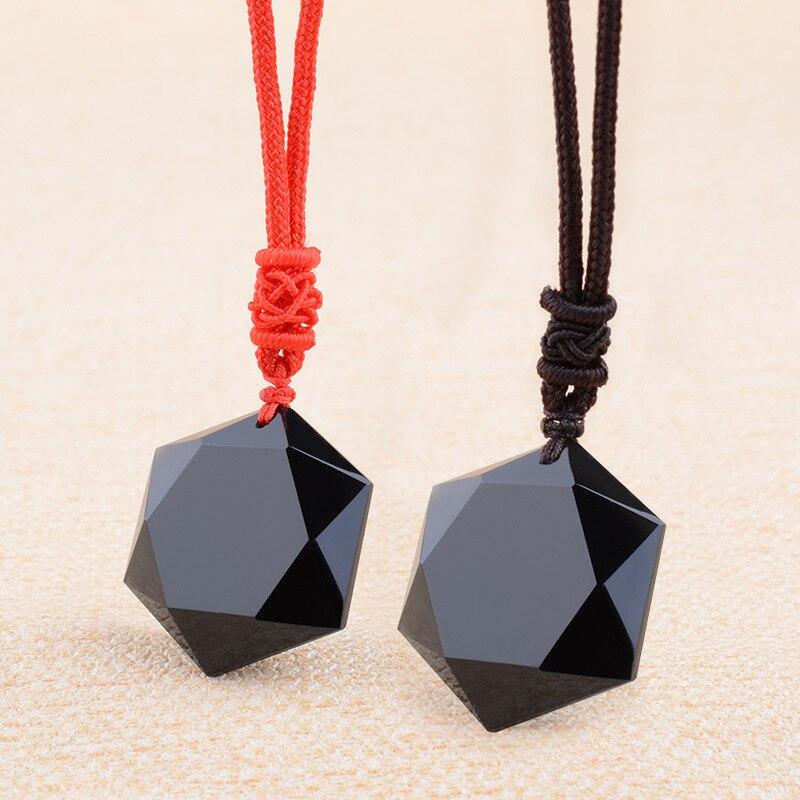 Natürliche Schwarz Obsidian energie stein sechs-stern Anhänger kristall Geschnitzt Anhänger Halskette frauen Männer liebhaber Jade Schmuck