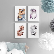 Watercolor Animal Bear Owl Raccoon Fox Posters And Prints Wall Art Canvas Painting Nursery Pictures Baby Kids Room Decor