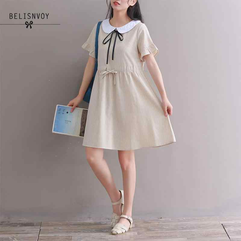 a9450479c9c3 2018 Summer Women Kawaii Cute Dress Mori Girl Peter Pan Collar Casual Loose  Female Elbise Short
